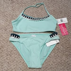 NWT Gossip Girl teal matching bikini set